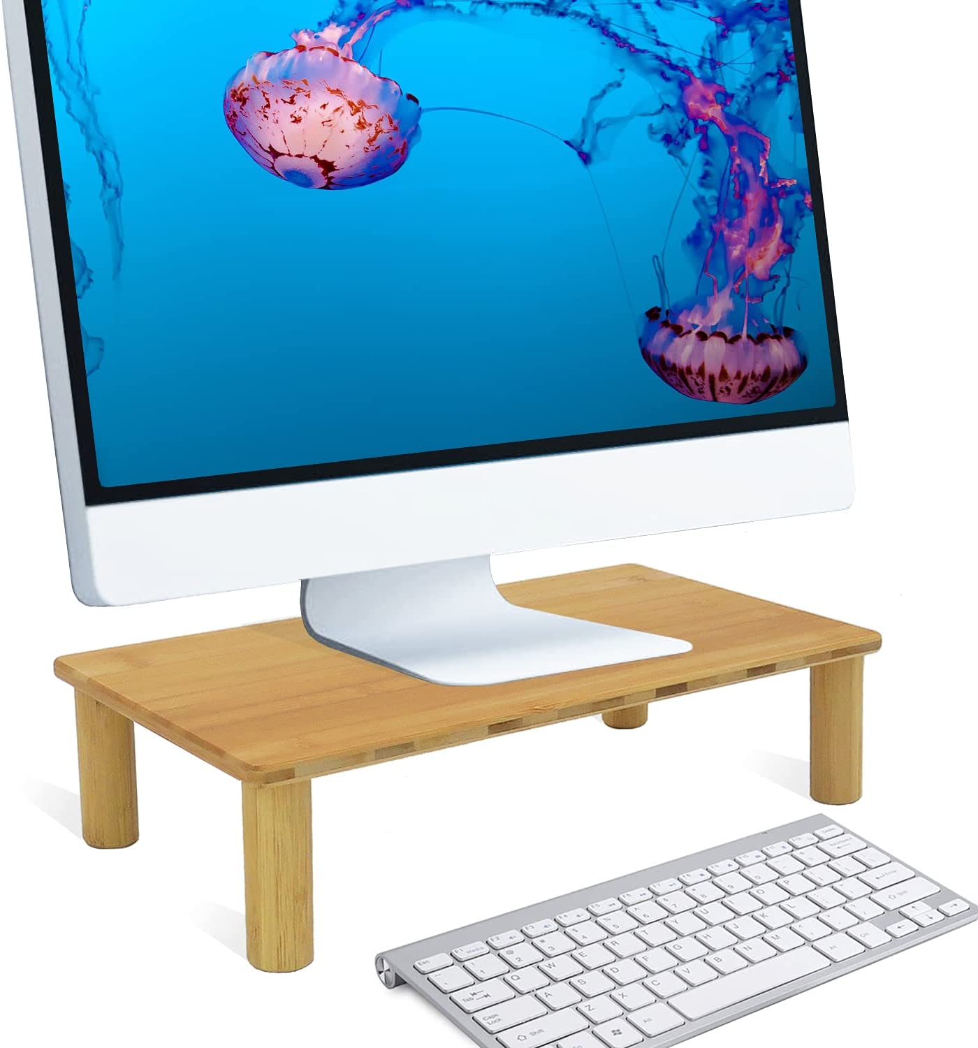 Monitor Stand Riser, Solid Bamboo Desktop Ergonomic Riser for Home and Office Computer Screen, Laptop, Printer and TVs - Storage Organizer for Desk Accessories