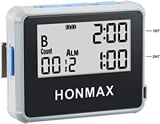 Honmax Charge IP66 Programmable Interval Timer & Stopwatch | Timers for Kitchen, HIIT, Running, Sports and Outdoor Exercise | Countdown up to 100 Hours | LED Digital Clock for Workout