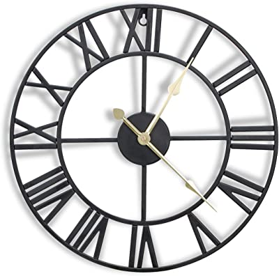 CIGERA 16 Inch Metal Wall Clock with 3D Roman Numerals, Silent Movement and Battery Operated, Great Wall Decor for Kitchen, Living Room and Farmhouse, Black