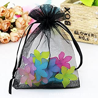Organza Bags 100pcs 4 x 6 Inch Gift Bags Organza Drawstring Pouch Jewelry Party Wedding Favor Party Festival Gift Bags Candy Bags (Black)