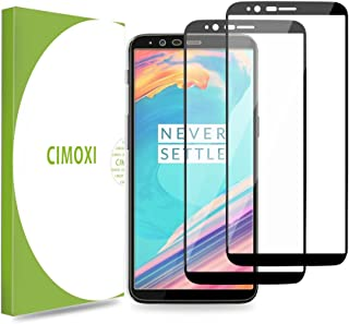 CIMOXI Screen Protector Compatible with OnePlus 5T [2 Pack] Full Adhesive Maximum Screen Coverage 2.5D Tempered Glass Screen Guard Film, Case-Friendly Screen Saver for OnePlus 5T-Black