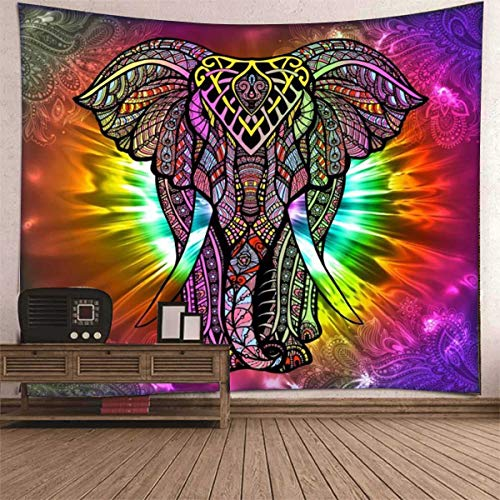 Psychedelic Elephant Tapestry Tapestry Wall Hanging Bohemian Mandala Tapestry Psychedelic Wall Tapestry Bedroom Living Room Dorm (51.2x59.1inch)