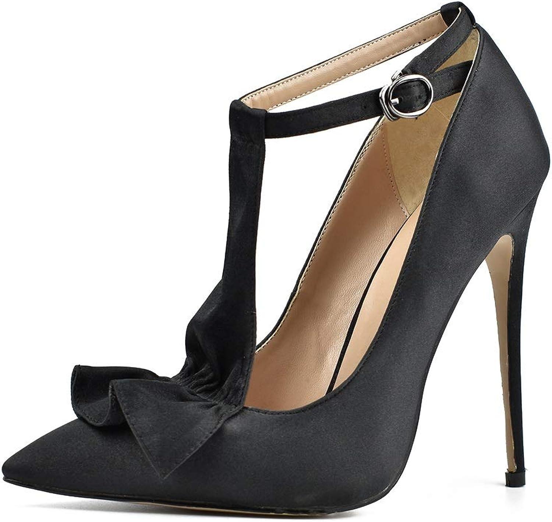 DoraTasia Women's Black T-Strap Thin High Heels Sexy Pumps