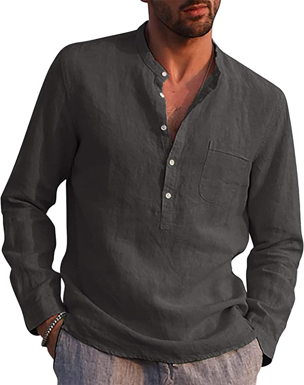 LVCBL Camisa de Manga Larga para Hombre, Camisa de Lino, Camisa de Verano para el Tiempo Libre