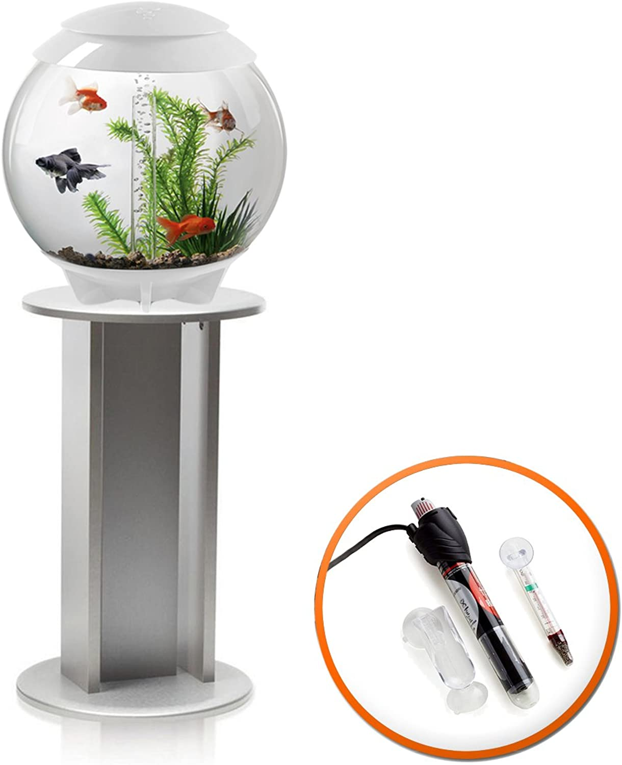 BiOrb Halo 30L Aquarium in White with Moonlight LED Lighting, Heater Pack and Silver Stand