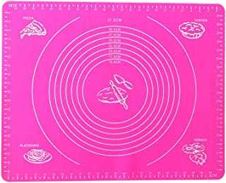 OUNONA Alfombra de pastelería Alfombrilla de amasar de Silicona spianatoia de Trabajo con tamaño Circular Alfombrilla Profesional para Trabajo de Cocina 50cm x 40cm (Rosa)