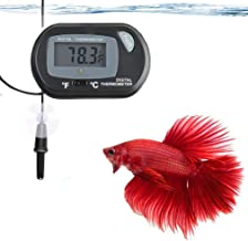 SunGrow Thermometer with LCD Display, Accurately Reads Tank Water Temperature, Battery and 2 Suction Cups Included for Quick Installation