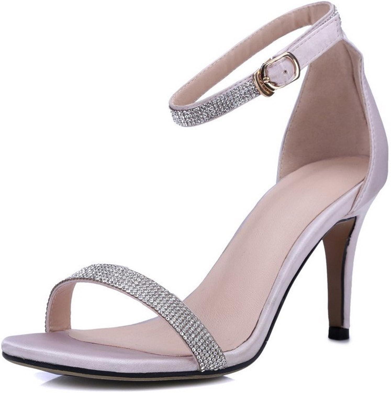 WeenFashion Women's Solid Silk Spikes Stilettos Open Toe Buckle Sandals