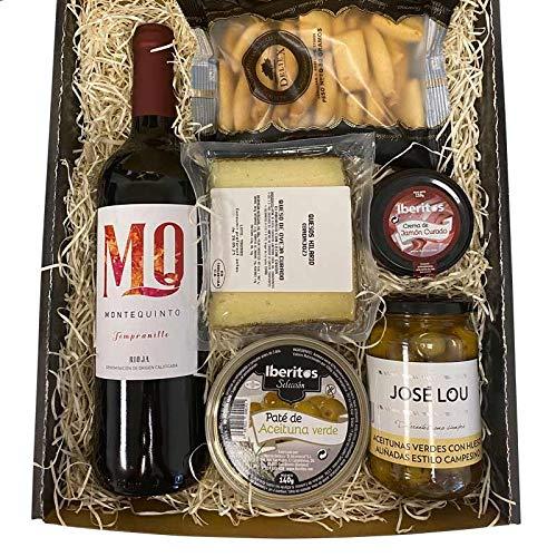 Lote económico Gourmet con Vino Montequinto, patés Iberitos, Queso, Aceitunas y Picos Deliex para Regalar en Cualquier ocasión