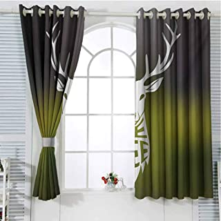 Hunting Room Darkening Curtains for Bedroom Deer Head with Horns Concept Artwork Be Free Motivational Phrase Stag Free Nature Pattern Curtains Long W96 x L107 Inch Multicolor