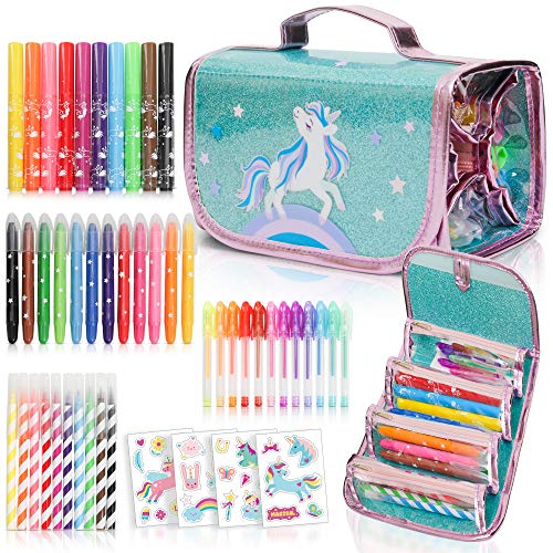Fruit Scented Markers Set with Unicorn Pencil Case With Augmented Reality Experience - STEM Toys Perfect Unicorn Gifts For Girls or For Art and Craft Coloring