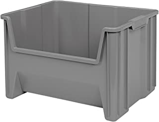 Akro-Mils 13017 Stack-N-Store Heavy Duty Stackable Open Front Plastic Storage Container Bin, (15-Inch x 20-Inch x 12-1/2-Inch), Gray, (3-Pack)