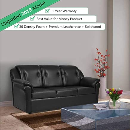 Furny Frans Three Seater Leatherette Sofa (Black)