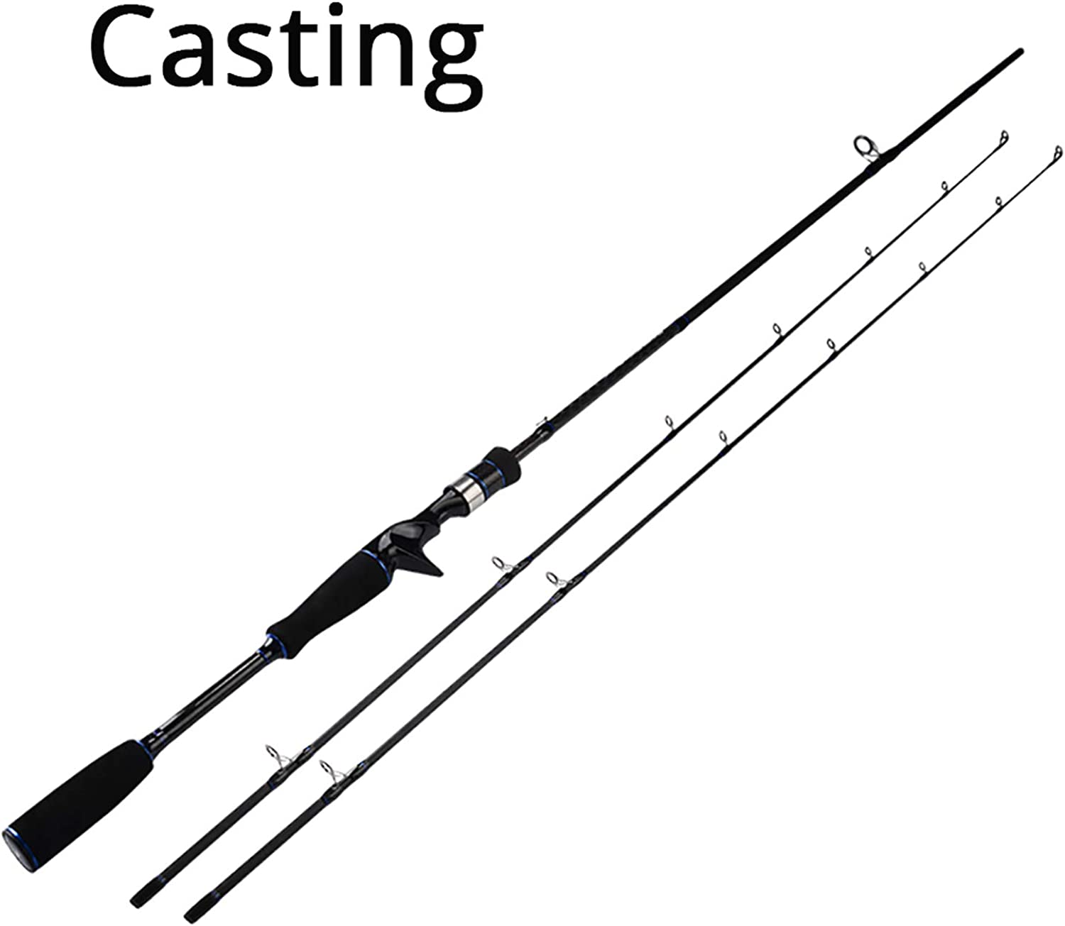 Cadet Ultralight Carbon Spinning Casting Fishing Rod with 2 Rod Tips 1.98m 2.10m Baitcasting Rod,White,2.1 m