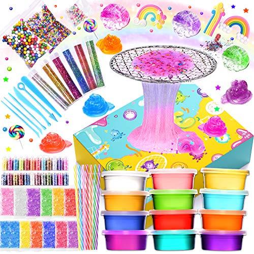 Joyjoz Slime Set Spielzeug für Mädchen, Schleim Zubehör für Schleim Party, DIY Schleim für Jungen, Alter 7 8 10 12 Einschließlich großer Schaumkugeln, 7X Regenbogen-Strohhalme, 12x Kristallschleim