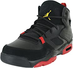 Jordan 555472-067: Kids Flight Club 91 (GS) Black Dandelion Varsity Red Sneakers (4.5 M US Big Kid)