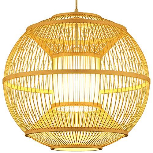 WFZRXFC Sudeste asiático Creativo Personalidad Colgante luz Esfera Troncos Colgante luz Natural y contaminación Libre araña Artesanal Tejido de bambú de bambú de la lámpara residencial de