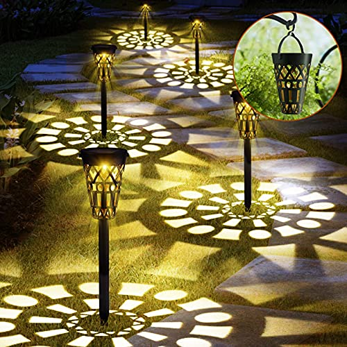 Solar Lights Garden Pathway Waterproof Outdoor Lighting,Solar Powered Hollow Retro Landscape Lights for Decor,Solar LED Yard Lights In Ground or Hanging for Lawn, Patio, Garden, Walkway 6 Pack