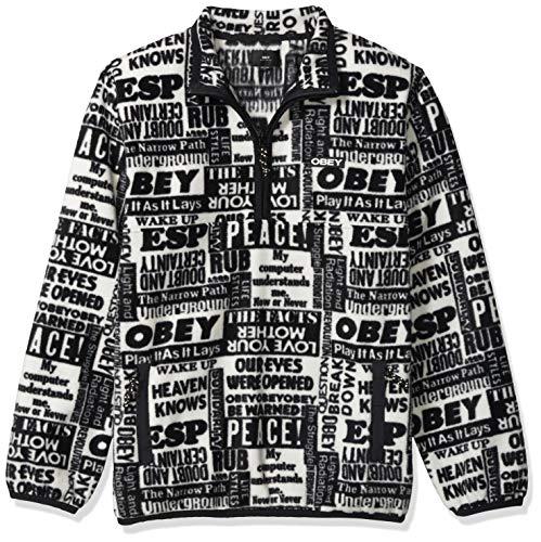 Obey Herren Post Mock Neck Sweatshirt, Weiß/Mehrfarbig, Medium
