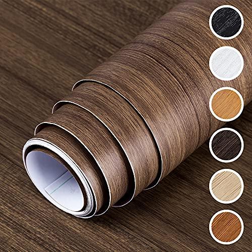 DMAXUN Espesar Impermeable Grano de madera Papel pintado 40x300cm Papel de vinilo autoadhesivo para Sala Habitación Paredes Encimera Bricolaje Mueble Marron oscuro