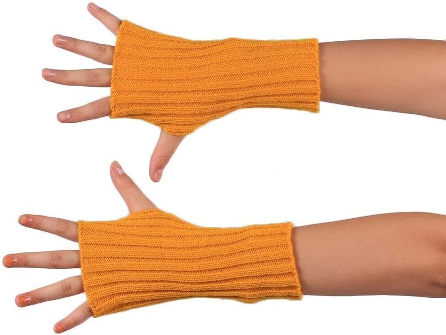 FASGION Women Fingerless Gloves Stretch Knit Mittens Autumn Winter Sports Touch Screen Riding Gloves Wrist Warm Gloves 2019 (Color : Yellow)