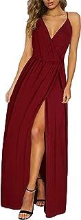 II ININ Women's Deep V-Neck Strap Casual Floral Print Maxi Split Dress