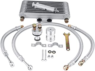 Qiilu 125ml Motorcycle Oil Cooler Engine Oil Cooling Radiator System Kit Fit for Honda CB CG Engine - Aluminum Material