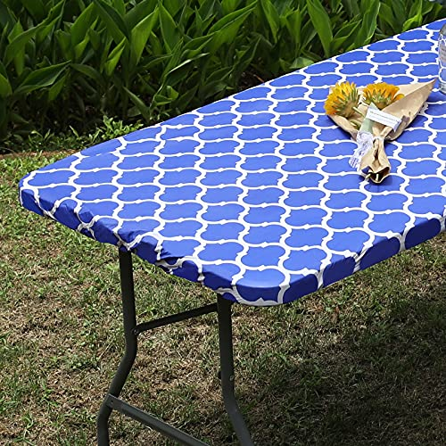 Smiry Elastic Fitted Vinyl Tablecloth, Flannel Backed Rectangle Table Cover for 6 FT Folding Table, Waterproof Wipeable Table Cloth for Outdoor Picnic Camping Parties, Blue Morocco Pattern