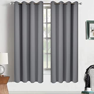 Yakamok Gray Blackout Curtains Panels Room Darkening Thermal Insulated Drapes with 8 Grommet, 2 Tie Backs Included (Grey, 52