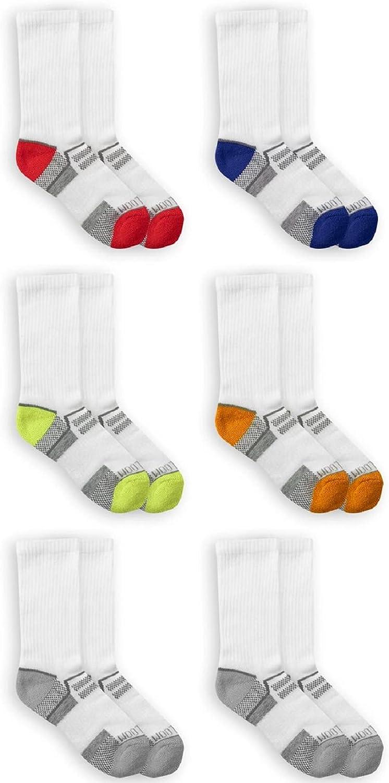 Fruit of the Loom Boys' 6-Pair Half Cushion Crew Socks (Medium, White)