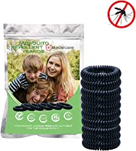 Mosquito Repellent Bracelets - 12 Pack Black | Bug and Insect Protection | 100% Natural Deet-Free | Waterproof Wristbands for Adults and Kids