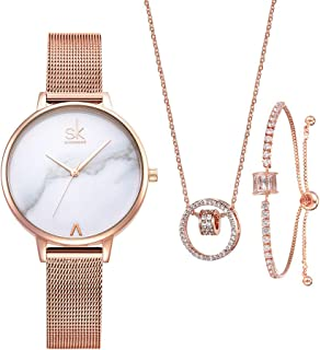 Women Watches Sets Gifts For Mom Wife Girlfriend Quartz Wrist Watch Necklace Bracelet Set