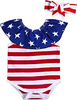 Lankey 4th of July Clothes Newborn Baby Girl Independence Day American Flag Stripe Star Romper with Headband