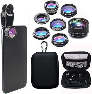 Cell Phone lens, multi-function phone camera lens 7 in 1 kit. Fisheye Lens, Wide Lens, Macro Lens, Kaleidoscope Lens, CPL,...