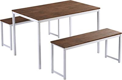 3 Piece Kitchen Table Set, Modern Dining Table Set with 2 Benches, Wood Table Top with Metal Frame, for Dining Room Kitchen Furniture (Brown+White)
