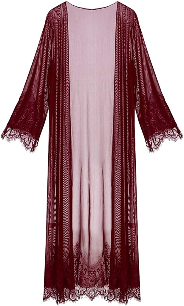 Forwelly Women Lace Sheer Mesh Long Sleeve Long Robe Gown Lingerie Beach Cover Up Pajamas Bathrobe