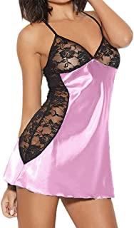 Toimothcn Women Badydoll V Neck Nightwear Satin Sleepwear Lace Chemise Mini Teddy