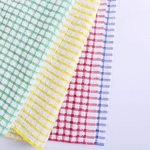 Kitchen Dishcloths 12pcs 11x12 Inches Bulk Cotton Kitchen Dish Cloths Scrubbing Wash Cloths Sets (Mix color)