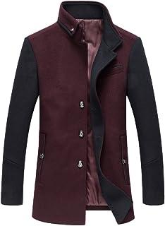 Mordenmiss Men's Band Collar Jacket Wool Blend Plain Blazers Slim Fit Jacket Overcoat