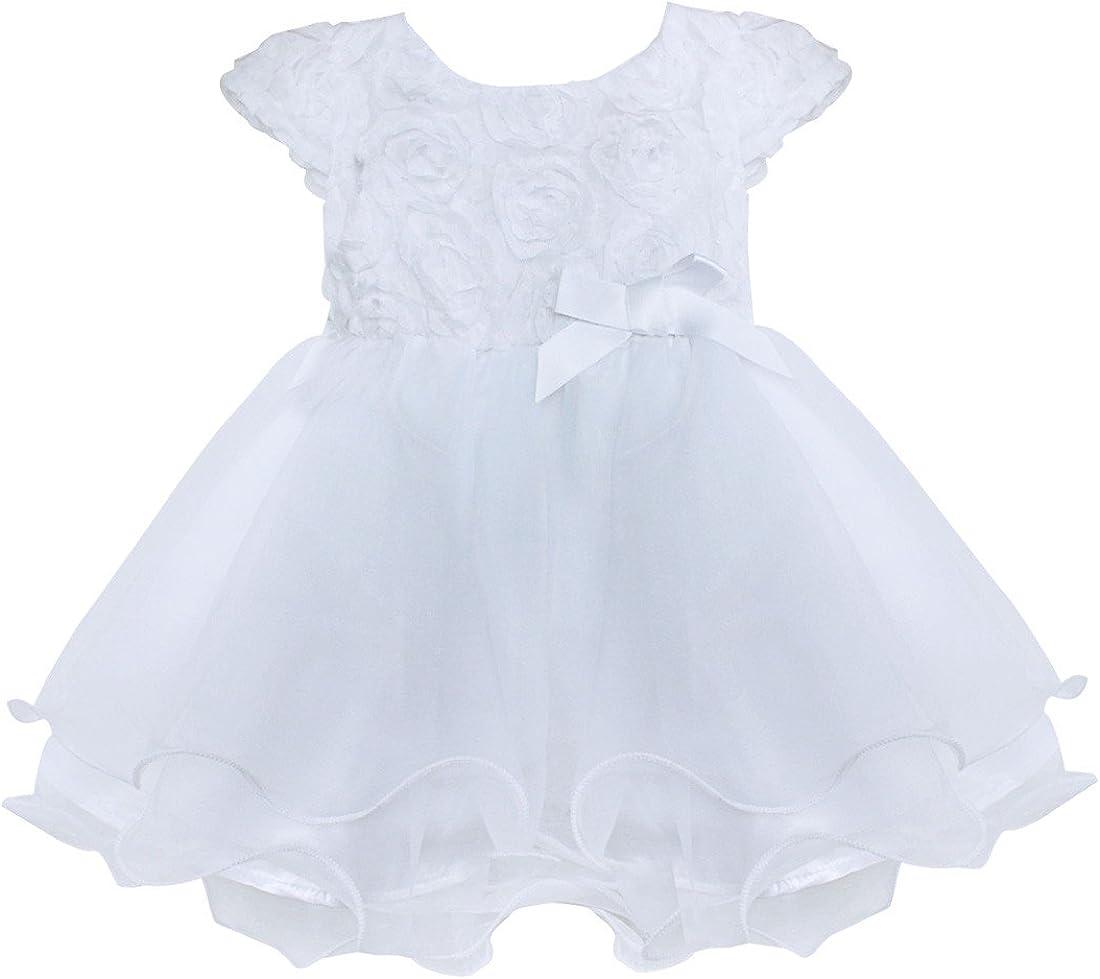TiaoBug Baby Limited time sale Girls 3D Cheap sale Rose Wedding Flower Pa Princess Sleeveless