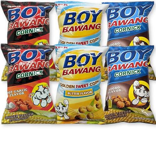 Boy Bawang Cornick Corn Nuts Bundle of 3 Flavors   2x Hot Garlic, 2x Adobo, 2x Butter Golden Sweet Corn   3.54oz each (Pack of 6)