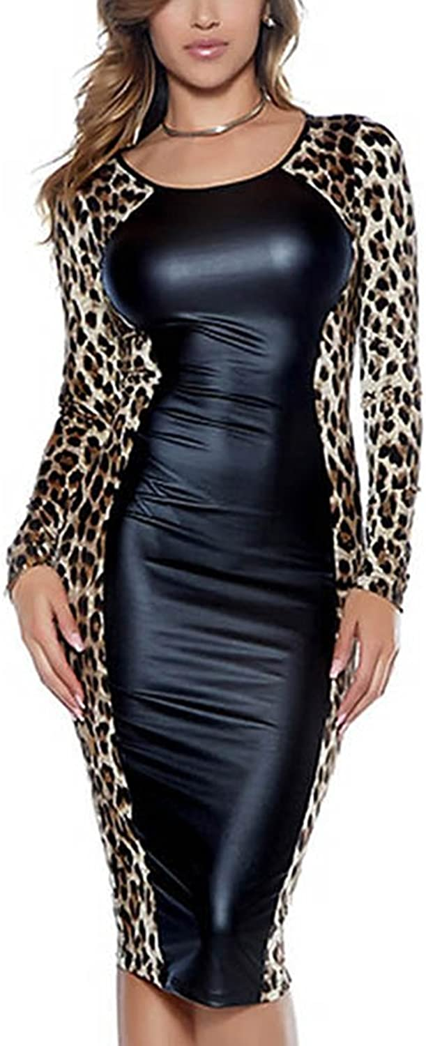 SPICY KISS Womens Leopard Print Dresses Sexy Faux Leather Long Sleeve Bodycon Midi Night Out Club Dress