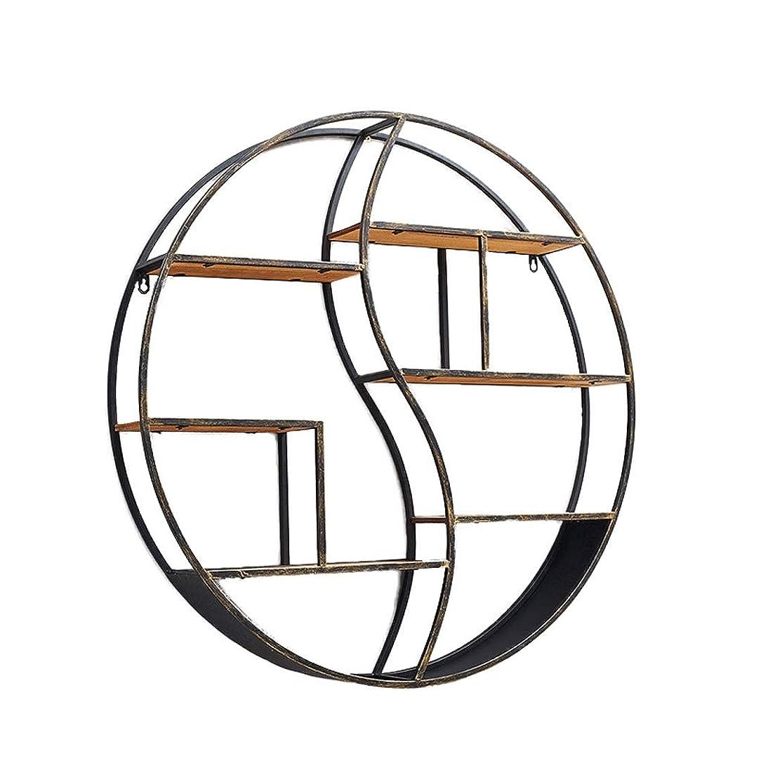 純粋な緩やかな記念品A + 錬鉄製のリビングルームの棚、レトロな壁の装飾的なフレーム、木製の花スタンドの背景壁円形収納ラック(2モデル) (Size : Diameter:80cm)