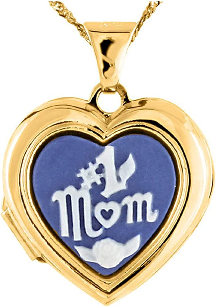 #1 MOM Heart Locket Pendant Necklace in 14K Yellow Gold with Chain