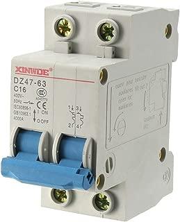 uxcell 2 Poles 16A 400V Low-voltage Miniature Circuit Breaker Din Rail Mount DZ47-63 C16