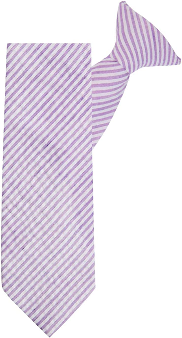 Jacob Alexander Boys' 14 inch Clip-On Seersucker Striped Pattern Neck Tie