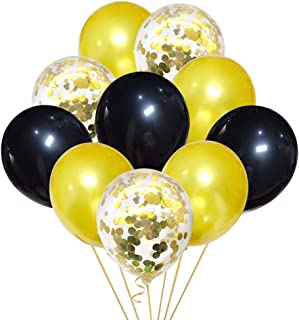 45PCS Black and Gold Confetti Balloons Party Decorations for Birthday Retirement Birdal Shower Congrats Graduation Supplies Wedding Anniversary Suplies