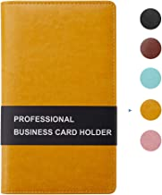 Sooez Leather Business Card Book Holder, Professional Business Cards Book Organizer PU Name Card Credit Cards Book Holder Booklet for Women (Orange)