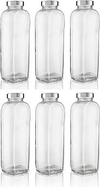 Sukt Creation® Glass Bottles for Fridge 1 Litre Glass Milk Bottles with Reusable Airtight Metal Twist Lids for Juice, Smoothi