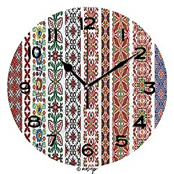 AmaUncle 10 inch Round Clock Traditional Romanian Folk Art Knitted Pattern Unique Wall Clock-for Living Room, Bedroom or Kitchen Use No23181